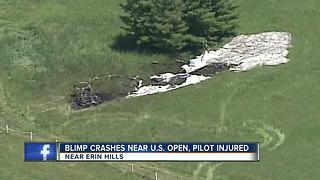 Blimp crashes near the U.S. Open at Erin Hills - Video