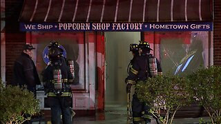 Firefighters respond to fire at Popcorn Shop Factory at Shaker Square