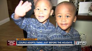 Couple works two years to finalize adoption of twin boys before Christmas - Video