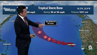 Tropical Storm Rene forms in the Atlantic near Cabo Verde Islands