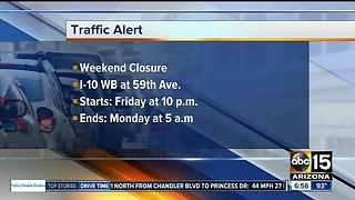 Weekend closure of I-10 segment scheduled in west Phoenix - Video