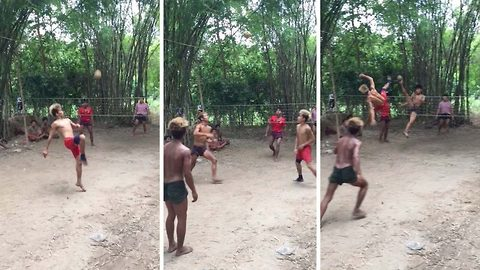 Myanmar Villagers Show Impressive Acrobatic Skills Playing Chinlone