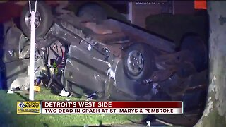 2 dead, 1 in critical condition after car crash in Detroit