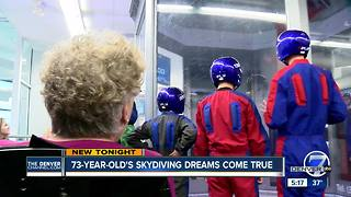 73-year-old's skydiving dreams come true - Video