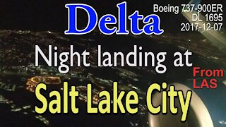 Delta flight DL1695 landing at night at SLC in Boeing 737-900ER