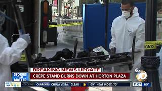 Food cart burns down at Horton Plaza - Video