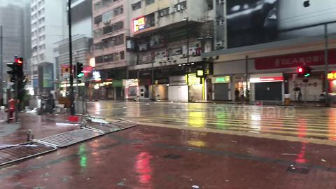 Busy shopping district eerily quiet as Typhoon Mangkhut brings city to standstill