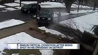 Man in critical condition after being shot in his driveway in Detroit