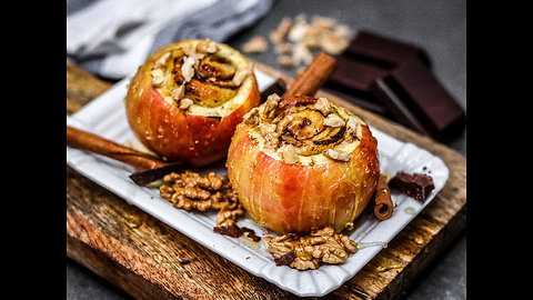 Cinnamon roll stuffed baked apple recipe