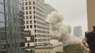Crowds Gather to Watch Building Implode in Downtown Austin - Video