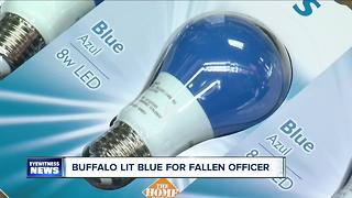 Buffalo lit blue for fallen officer - Video