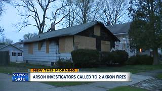 Arson investigators called to two Akron fires with giant flames Saturday night