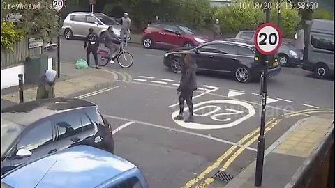 Moment youth in South London pulls massive knife during altercation
