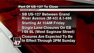 Part of US-127 to be closed this weekend