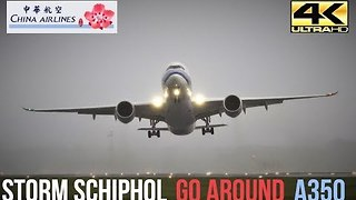 Plane Unable To Land At Schiphol Airport Amid Heavy Crosswinds - Video