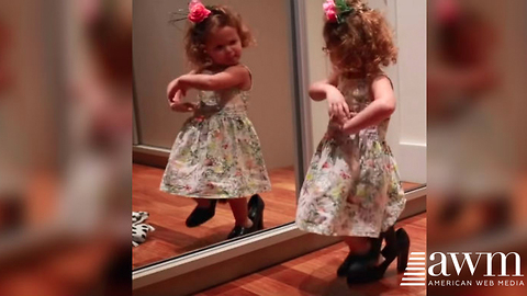Mom Sneaks In To Film Toddler Dancing In Her High Heels, Has Internet In Stitches