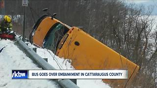 School bus goes over embankment in Cattaraugus County - Video