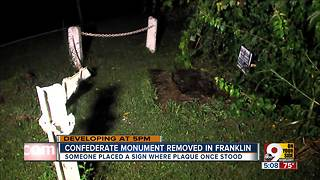 Sign placed where Confederate monument was removed in Franklin