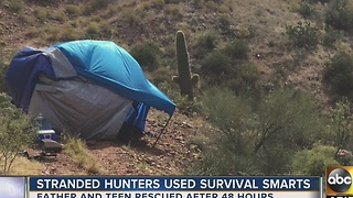 Father, teen used survival smarts after becoming stranded - Video