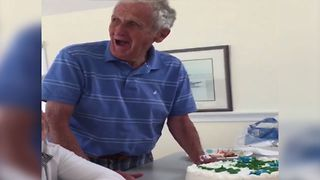 Grandpa Has The Best Reaction To Prank Cake - Video
