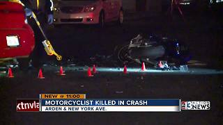 Car, motorcycle collide near Nellis and Wyoming - Video