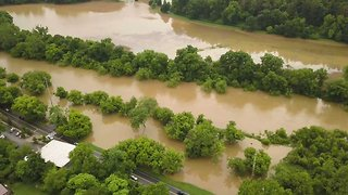 French Broad River Floods North Carolina Park - Video