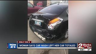 Car totaled at south Tulsa carwash - Video