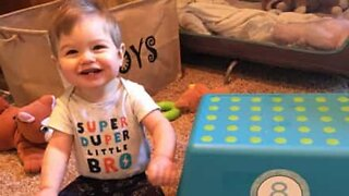 Baby can't stop laughing at own fail