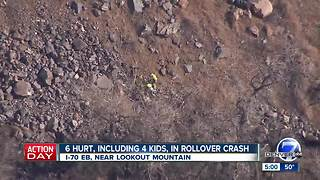 Rollover crash leaves 6 injured on EB I-70 at Lookout Mountain in Jefferson County - Video