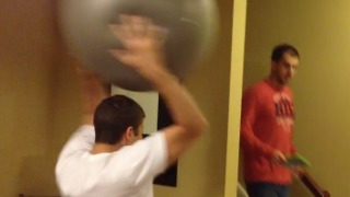 Exercise Ball Knockout Breaks The Walls Down - Video