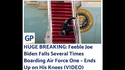 Creepy Joe Biden Falls Repeatedly Attempting to Board Air Force One