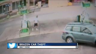 Surveillance video captures car theft at Bay View gas station - Video