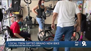 Tucson teen with cerebral palsy gifted brand new bike, after old one was stolen and damaged