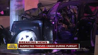 Police pursuit ends in fiery crash overnight in Tampa - Video