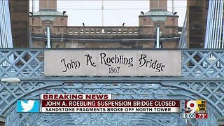 Roebling suspension bridge closed after pieces fall from north tower