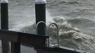 Stormy Waves Crash on Central New York Marina - Video
