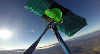 Skydiver loses control jumping off a plane