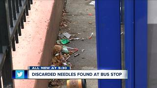 Discarded needles found at downtown bus stop - Video