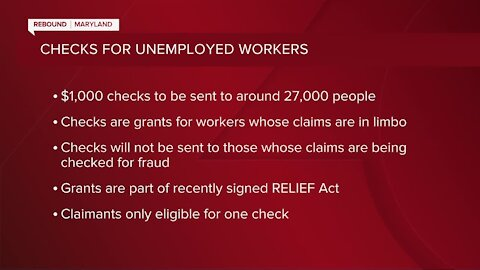 "Maryland Comptroller to issue around 27,000 paper checks to unemployment insurance claimants stuck in ""adjudication purgatory"""