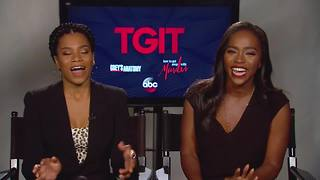 Kelly McCreary and Aja Naomi King on crossing paths outside of Shonda's hit TV shows | Hot Topics - Video