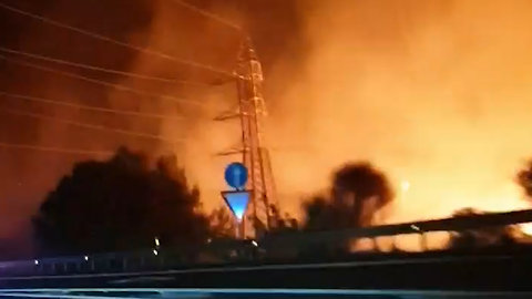Devastating wildfire near the resort Marbella, Spain