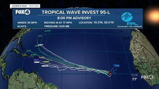 Tropical Invest 95-L is moving west in the SE Atlantic