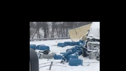 Debris Scattered Across Interstate 70 in Missouri Following Multi-Vehicle Pile-Up