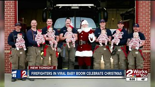 Firefighters in viral baby boom celebrate Christmas