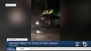 Driver tries to run away after crash