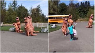 T-Rex family welcomes girl home after school