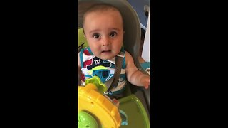 Adorable baby yelps in fright, laughs after dad scares him