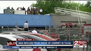 Man gets rescued from chimney in east Tulsa