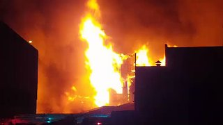 Fire Burns Abandoned Factory in Cremorne, Melbourne - Video