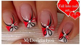 DIY nail art: Red and black floral design - Video
